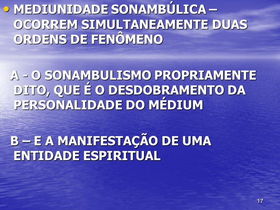 MEDIUNIDADE SONAMBÚLICA – OCORREM SIMULTANEAMENTE DUAS ORDENS DE FENÔMENO