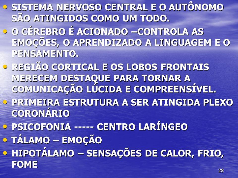 SISTEMA NERVOSO CENTRAL E O AUTÔNOMO SÃO ATINGIDOS COMO UM TODO.