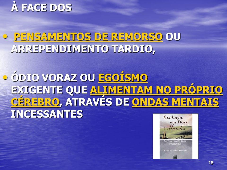 À FACE DOS PENSAMENTOS DE REMORSO OU ARREPENDIMENTO TARDIO,