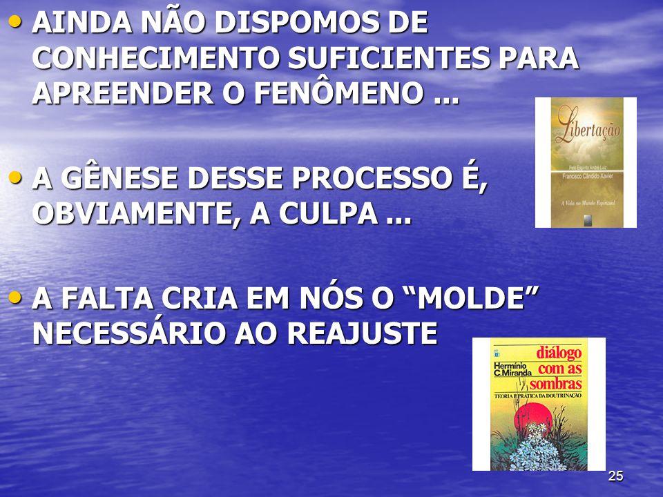 AINDA NÃO DISPOMOS DE CONHECIMENTO SUFICIENTES PARA APREENDER O FENÔMENO ...