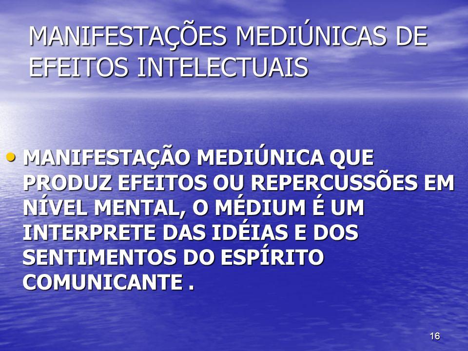 MANIFESTAÇÕES MEDIÚNICAS DE EFEITOS INTELECTUAIS