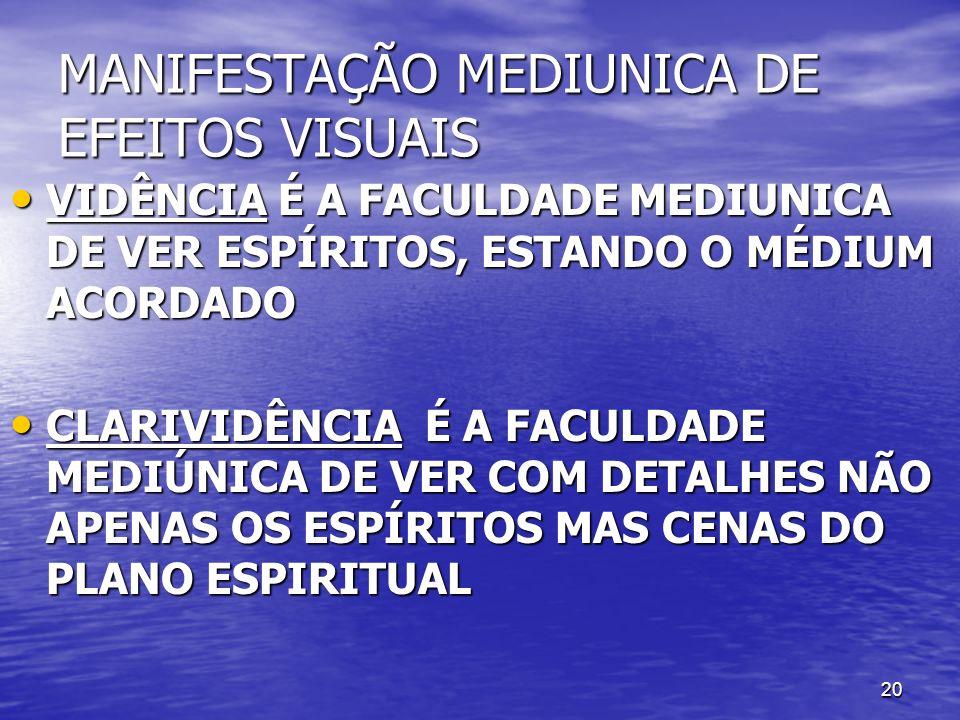 MANIFESTAÇÃO MEDIUNICA DE EFEITOS VISUAIS