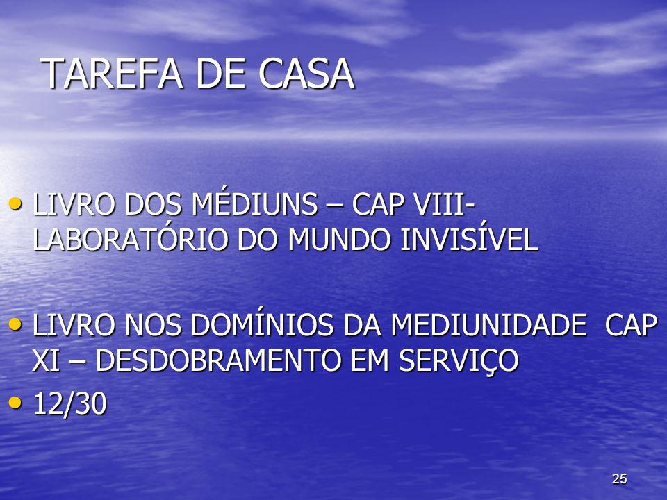 TAREFA DE CASA LIVRO DOS MÉDIUNS – CAP VIII- LABORATÓRIO DO MUNDO INVISÍVEL. LIVRO NOS DOMÍNIOS DA MEDIUNIDADE CAP XI – DESDOBRAMENTO EM SERVIÇO.