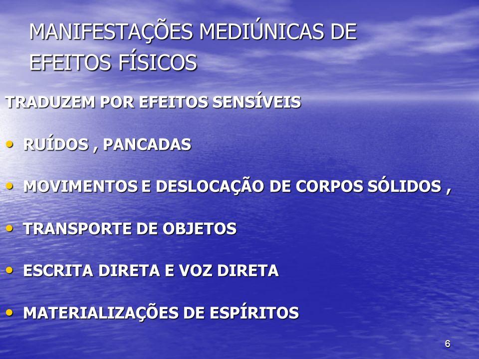 MANIFESTAÇÕES MEDIÚNICAS DE EFEITOS FÍSICOS