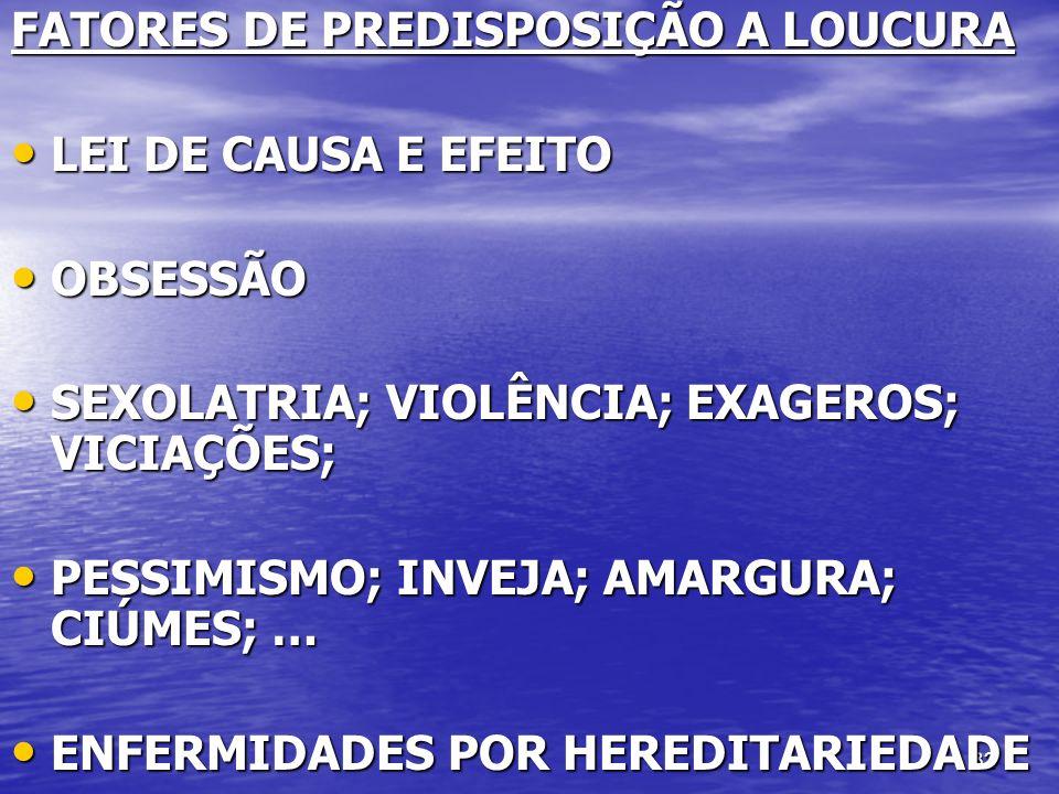 FATORES DE PREDISPOSIÇÃO A LOUCURA