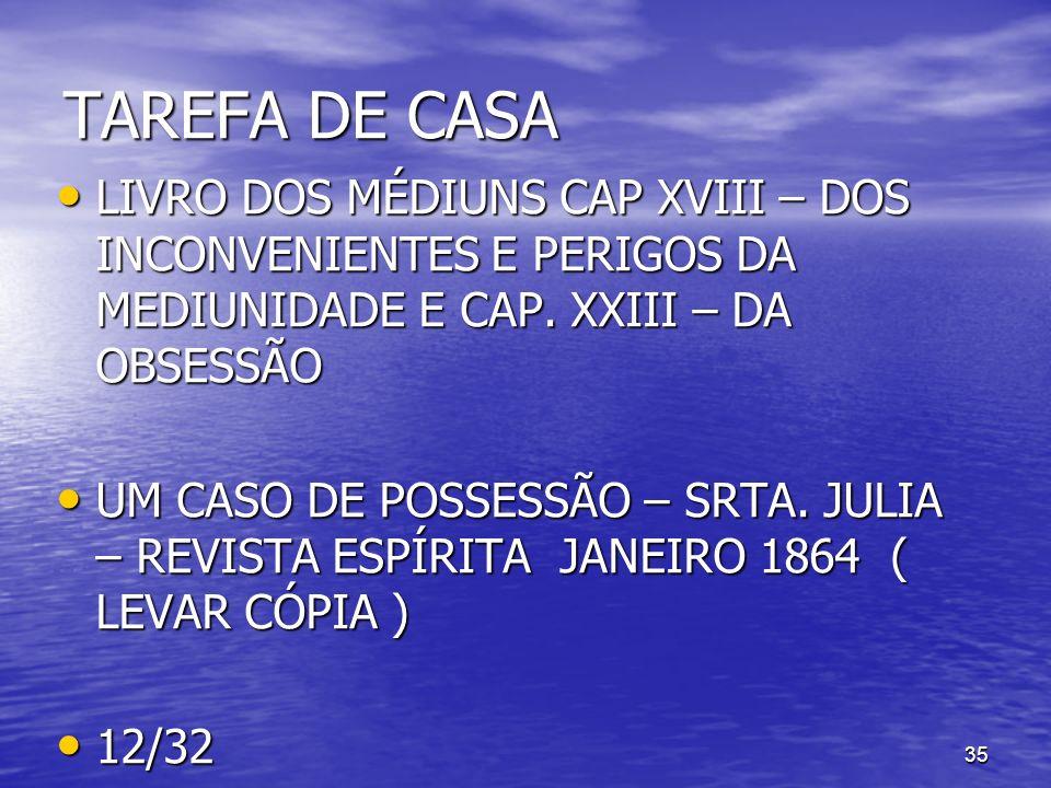 TAREFA DE CASA LIVRO DOS MÉDIUNS CAP XVIII – DOS INCONVENIENTES E PERIGOS DA MEDIUNIDADE E CAP. XXIII – DA OBSESSÃO.