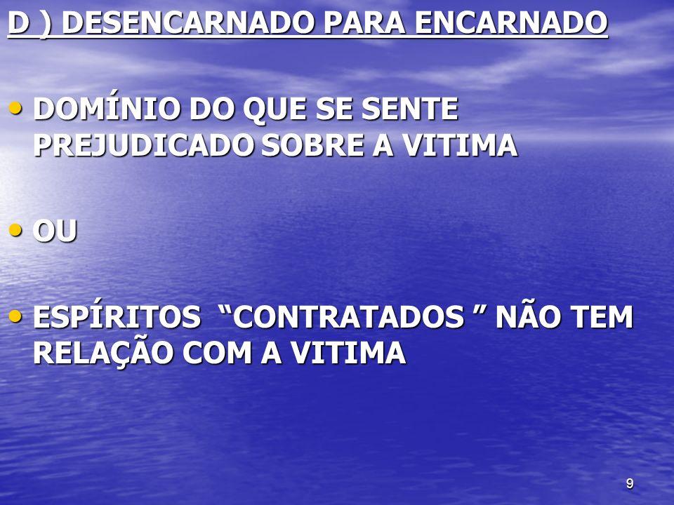 D ) DESENCARNADO PARA ENCARNADO