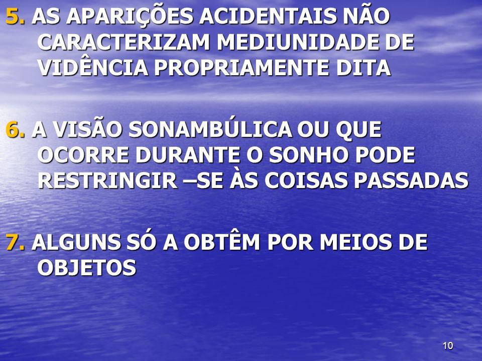 5. AS APARIÇÕES ACIDENTAIS NÃO CARACTERIZAM MEDIUNIDADE DE VIDÊNCIA PROPRIAMENTE DITA