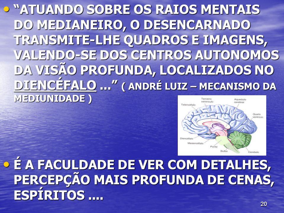 ATUANDO SOBRE OS RAIOS MENTAIS DO MEDIANEIRO, O DESENCARNADO TRANSMITE-LHE QUADROS E IMAGENS, VALENDO-SE DOS CENTROS AUTONOMOS DA VISÃO PROFUNDA, LOCALIZADOS NO DIENCÉFALO ... ( ANDRÉ LUIZ – MECANISMO DA MEDIUNIDADE )