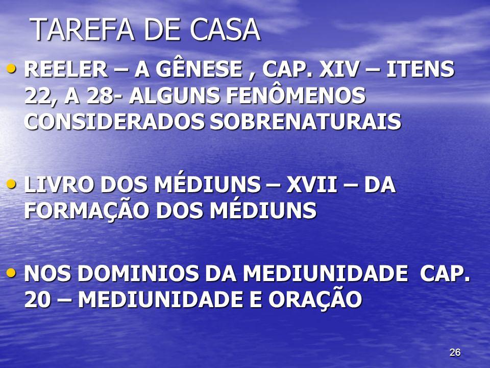 TAREFA DE CASAREELER – A GÊNESE , CAP. XIV – ITENS 22, A 28- ALGUNS FENÔMENOS CONSIDERADOS SOBRENATURAIS.