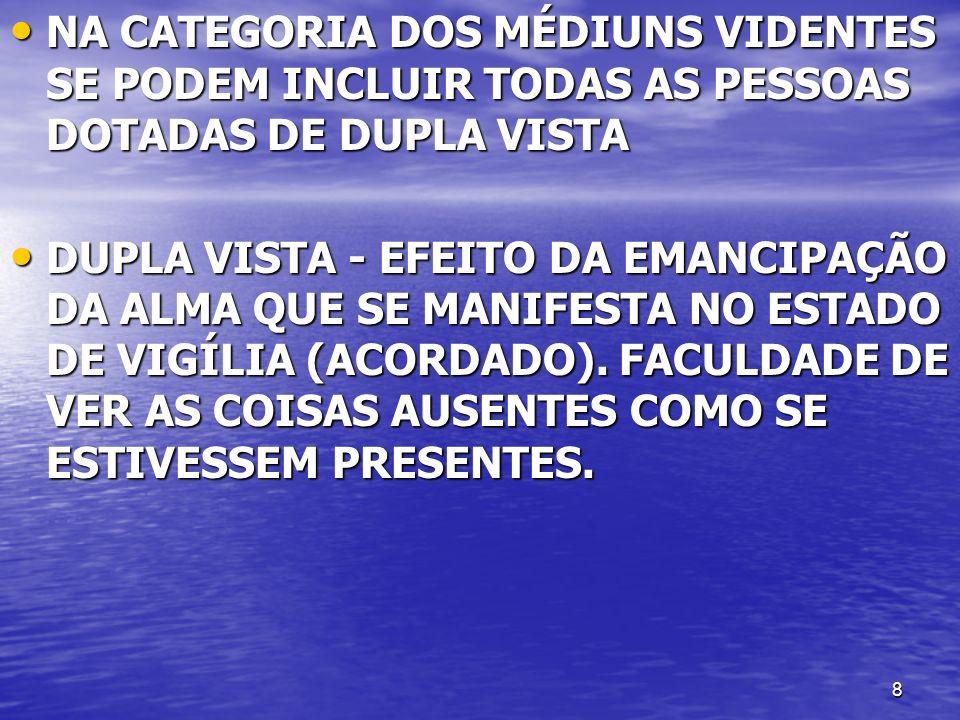 NA CATEGORIA DOS MÉDIUNS VIDENTES SE PODEM INCLUIR TODAS AS PESSOAS DOTADAS DE DUPLA VISTA