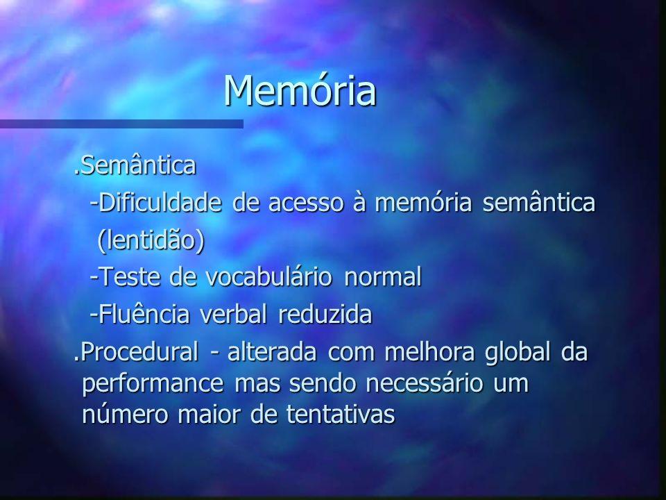 Memória .Semântica -Dificuldade de acesso à memória semântica
