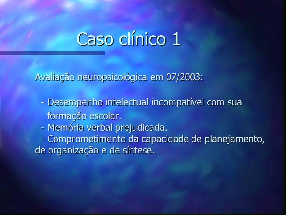 Caso clínico 1 Avaliação neuropsicológica em 07/2003: