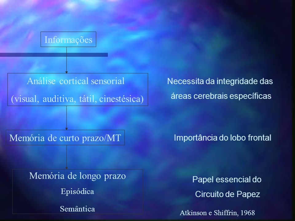 Análise cortical sensorial (visual, auditiva, tátil, cinestésica)