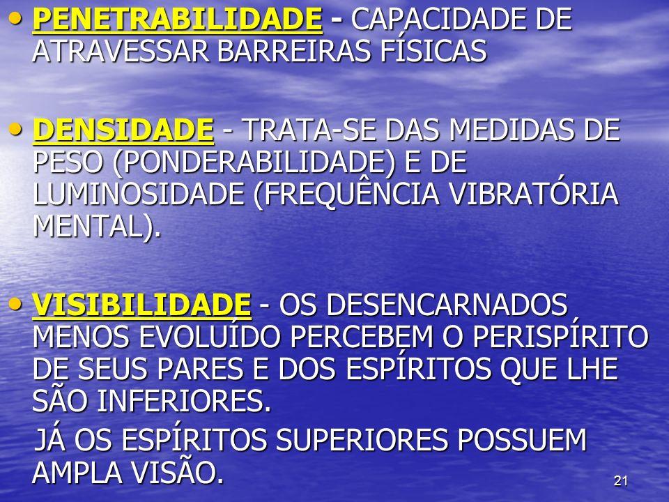 PENETRABILIDADE - CAPACIDADE DE ATRAVESSAR BARREIRAS FÍSICAS