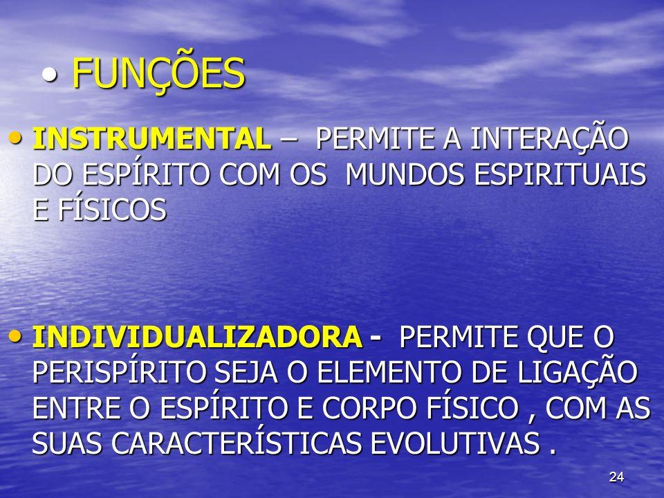 FUNÇÕES INSTRUMENTAL – PERMITE A INTERAÇÃO DO ESPÍRITO COM OS MUNDOS ESPIRITUAIS E FÍSICOS.