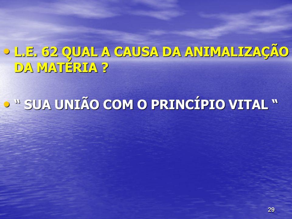 L.E. 62 QUAL A CAUSA DA ANIMALIZAÇÃO DA MATÉRIA