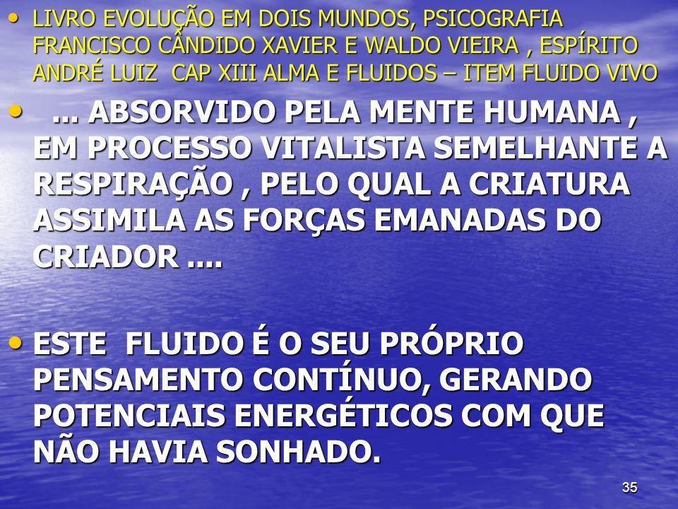 LIVRO EVOLUÇÃO EM DOIS MUNDOS, PSICOGRAFIA FRANCISCO CÂNDIDO XAVIER E WALDO VIEIRA , ESPÍRITO ANDRÉ LUIZ CAP XIII ALMA E FLUIDOS – ITEM FLUIDO VIVO