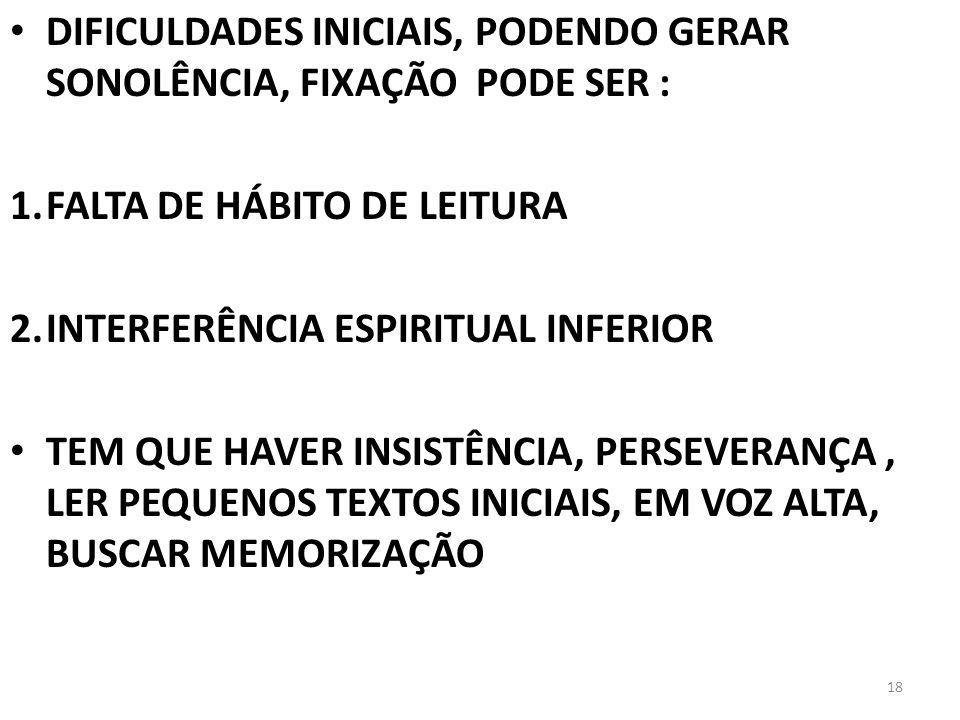 DIFICULDADES INICIAIS, PODENDO GERAR SONOLÊNCIA, FIXAÇÃO PODE SER :