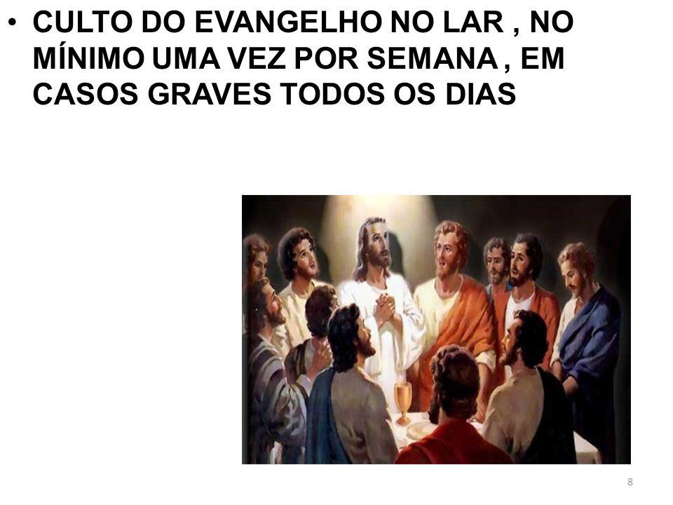 CULTO DO EVANGELHO NO LAR , NO MÍNIMO UMA VEZ POR SEMANA , EM CASOS GRAVES TODOS OS DIAS