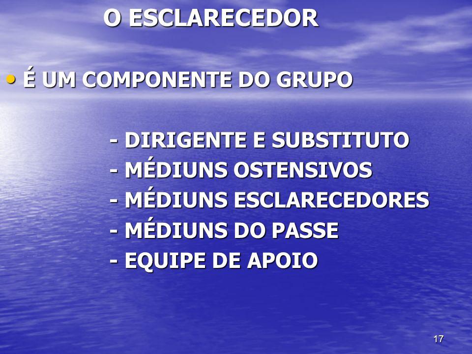 O ESCLARECEDOR É UM COMPONENTE DO GRUPO. - DIRIGENTE E SUBSTITUTO. - MÉDIUNS OSTENSIVOS. - MÉDIUNS ESCLARECEDORES.
