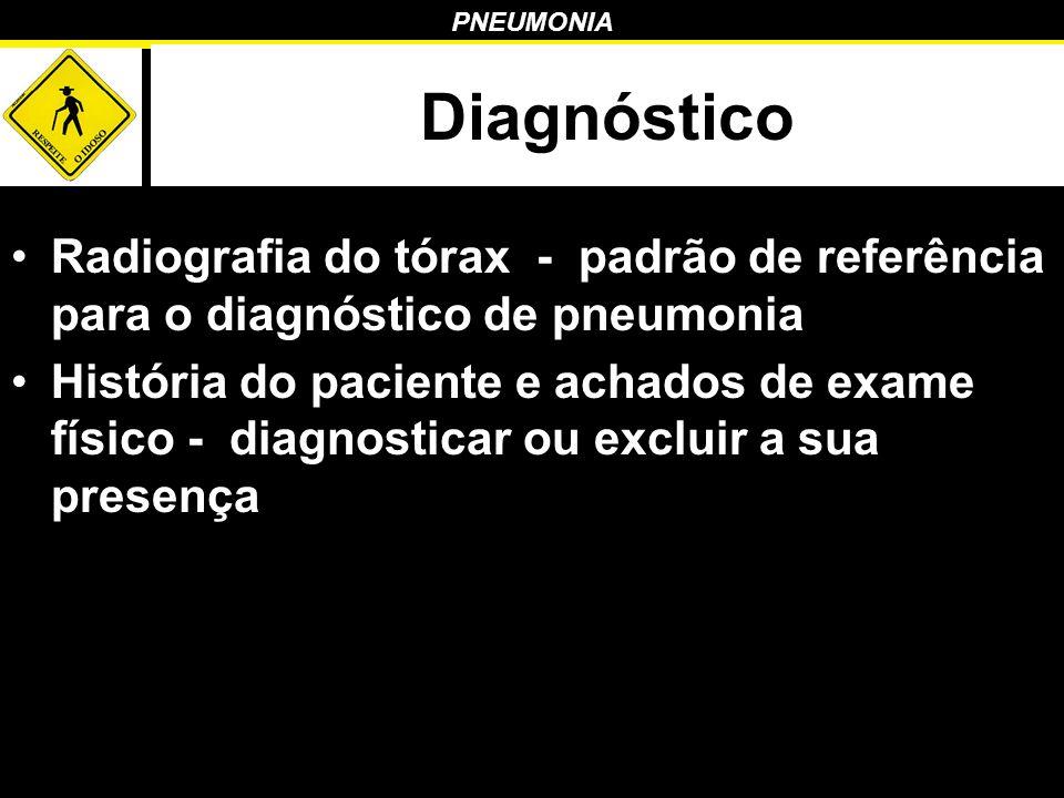 Diagnóstico Radiografia do tórax - padrão de referência para o diagnóstico de pneumonia.