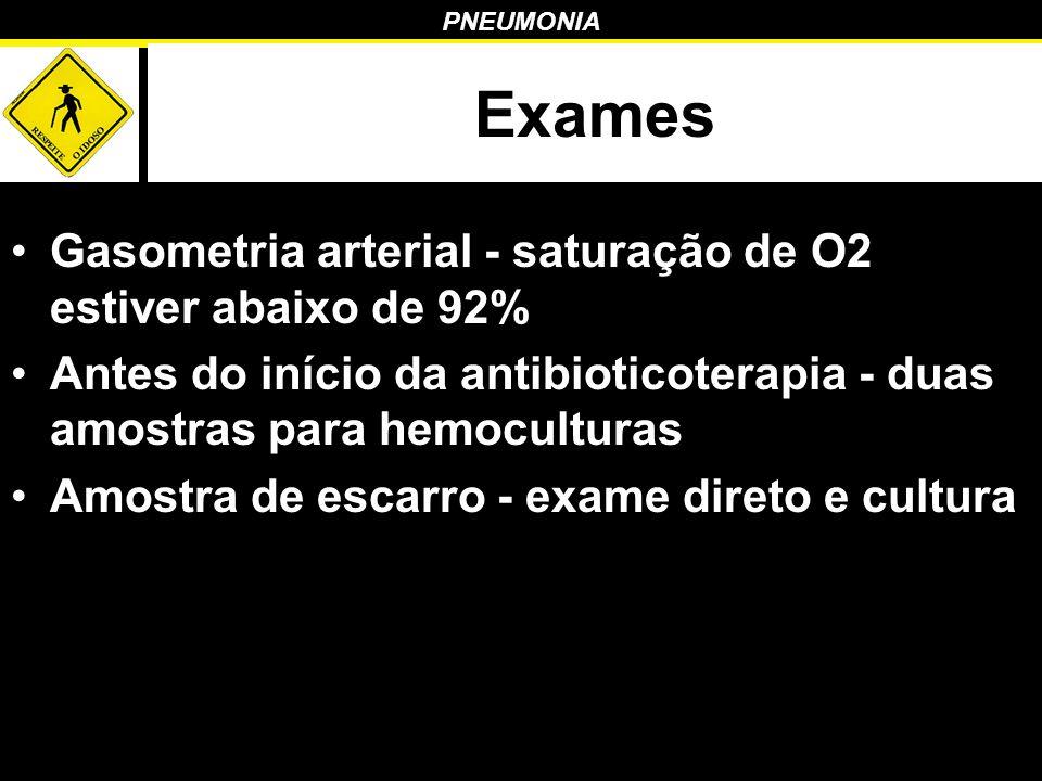 Exames Gasometria arterial - saturação de O2 estiver abaixo de 92%