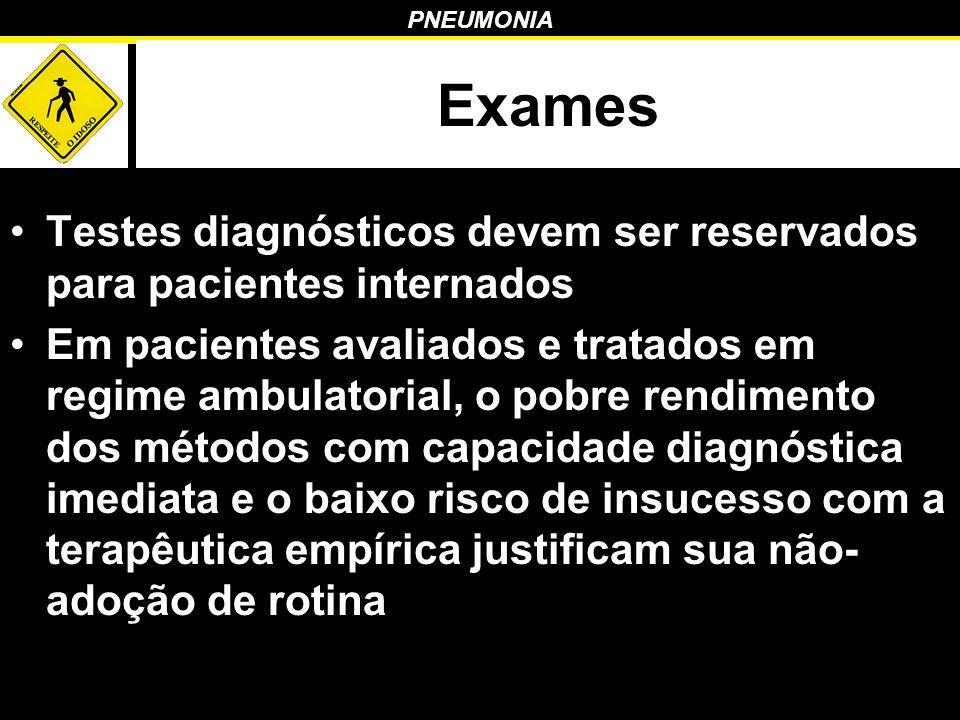 Exames Testes diagnósticos devem ser reservados para pacientes internados.