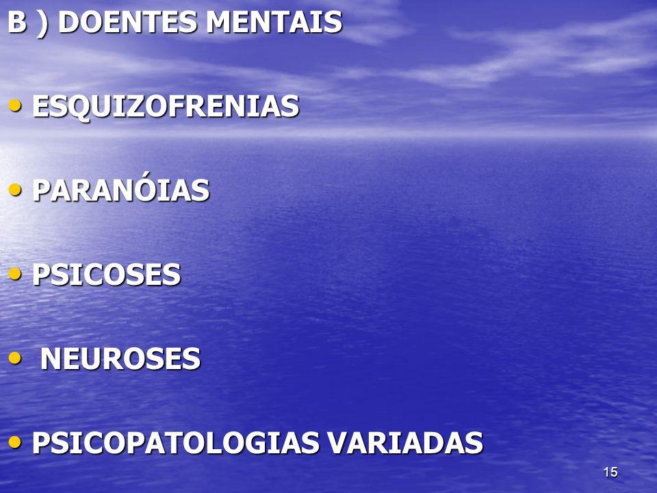 B ) DOENTES MENTAIS ESQUIZOFRENIAS PARANÓIAS PSICOSES NEUROSES PSICOPATOLOGIAS VARIADAS
