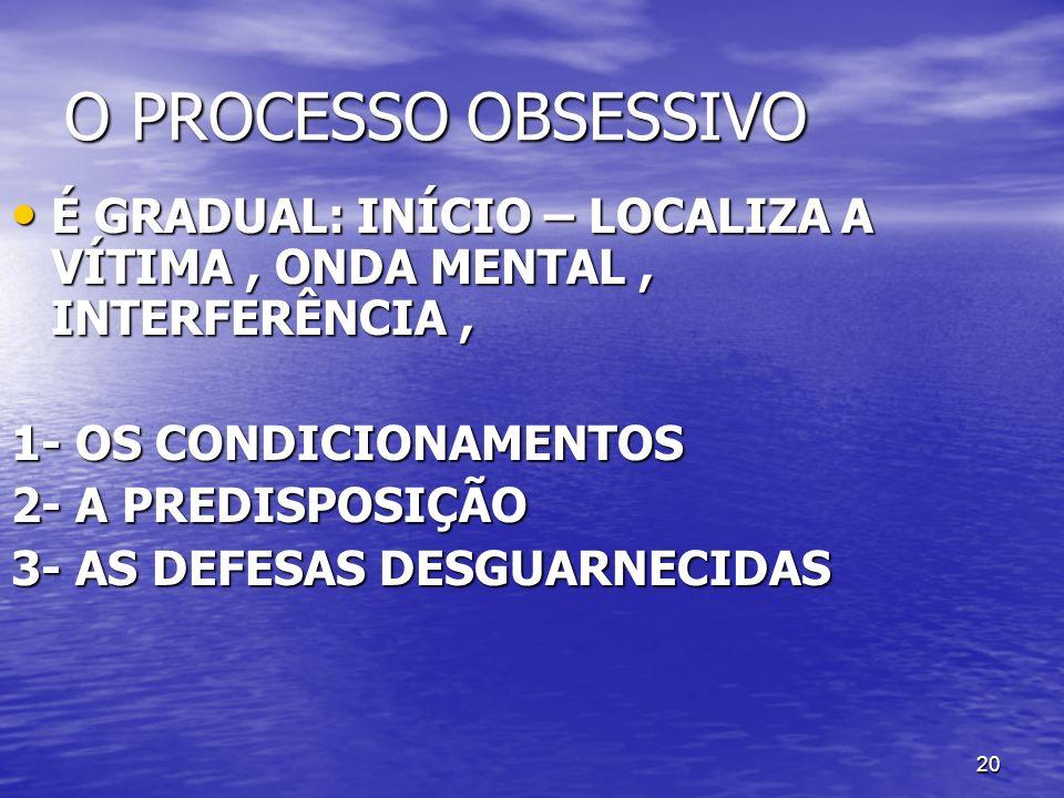 O PROCESSO OBSESSIVOÉ GRADUAL: INÍCIO – LOCALIZA A VÍTIMA , ONDA MENTAL , INTERFERÊNCIA , 1- OS CONDICIONAMENTOS.