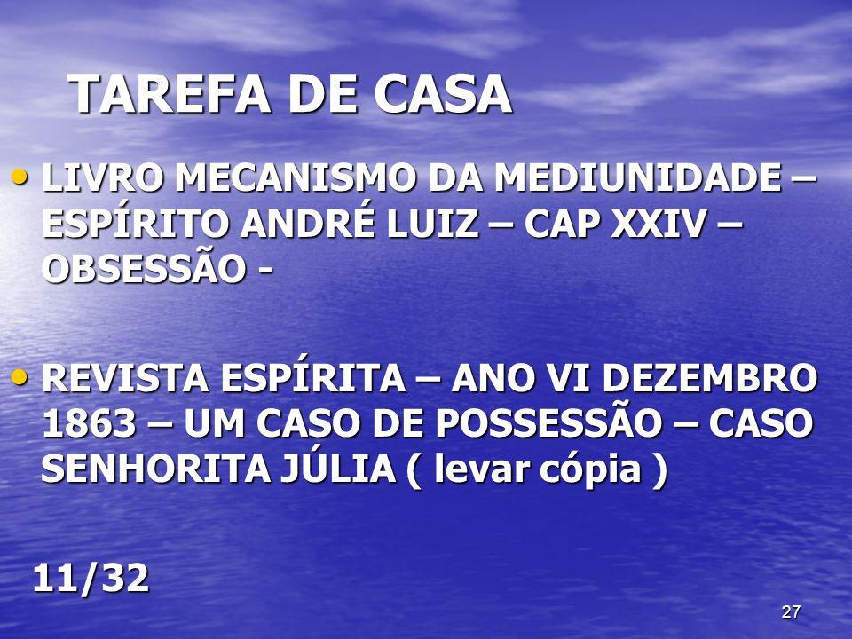 TAREFA DE CASA LIVRO MECANISMO DA MEDIUNIDADE – ESPÍRITO ANDRÉ LUIZ – CAP XXIV – OBSESSÃO -