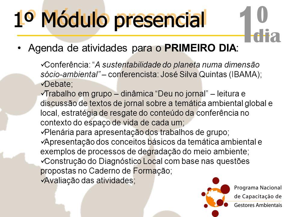 1º 1º Módulo presencial dia Agenda de atividades para o PRIMEIRO DIA: