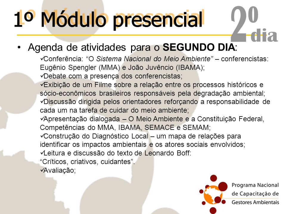 2º 1º Módulo presencial dia Agenda de atividades para o SEGUNDO DIA: