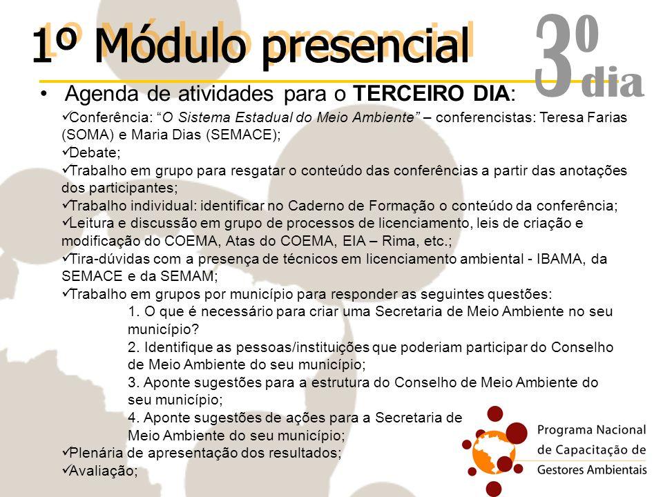 3º 1º Módulo presencial dia Agenda de atividades para o TERCEIRO DIA: