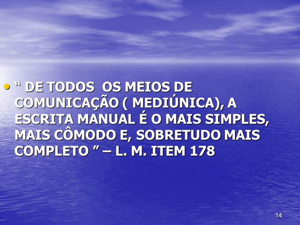DE TODOS OS MEIOS DE COMUNICAÇÃO ( MEDIÚNICA), A ESCRITA MANUAL É O MAIS SIMPLES, MAIS CÔMODO E, SOBRETUDO MAIS COMPLETO – L.