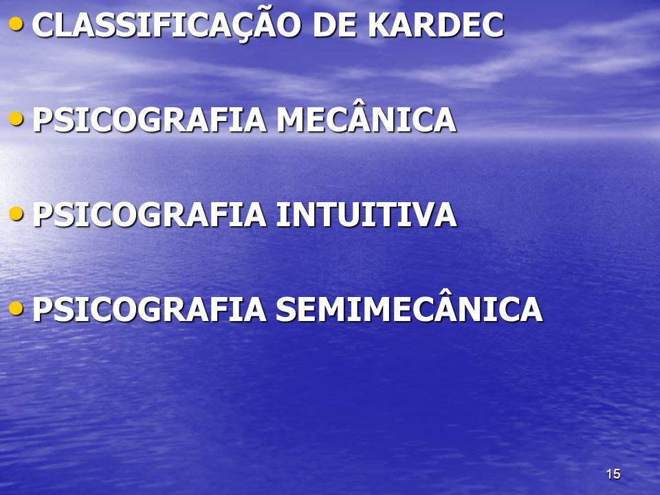 CLASSIFICAÇÃO DE KARDEC
