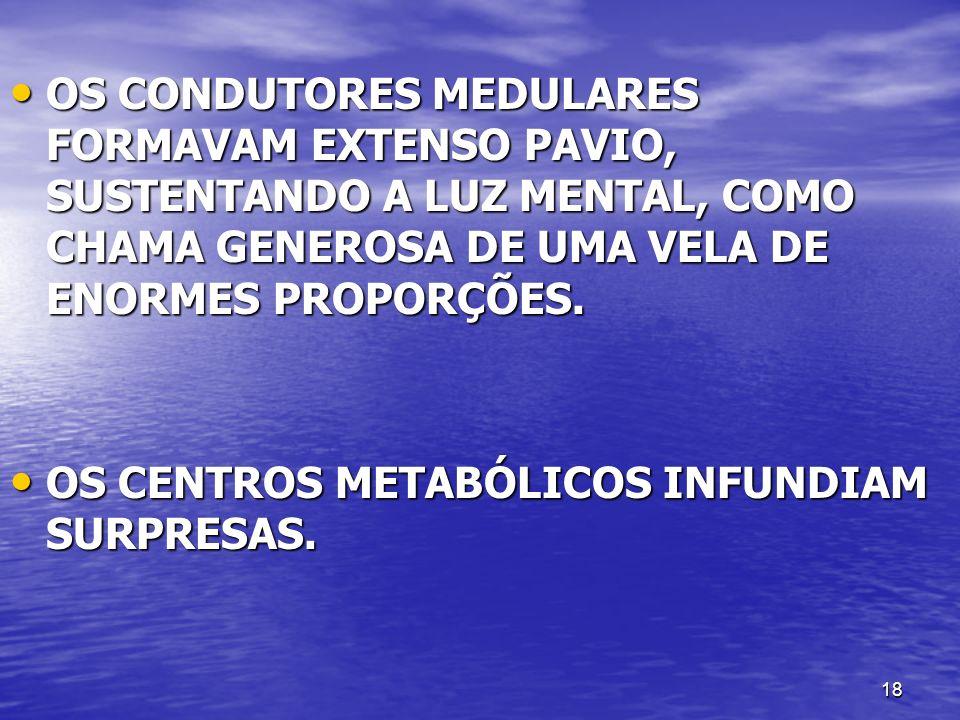 OS CONDUTORES MEDULARES FORMAVAM EXTENSO PAVIO, SUSTENTANDO A LUZ MENTAL, COMO CHAMA GENEROSA DE UMA VELA DE ENORMES PROPORÇÕES.