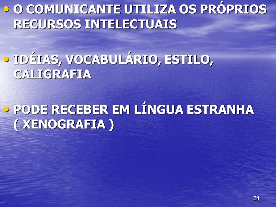 O COMUNICANTE UTILIZA OS PRÓPRIOS RECURSOS INTELECTUAIS