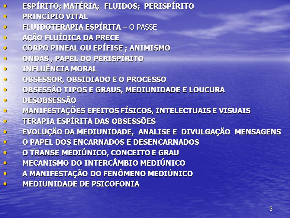 ESPÍRITO; MATÉRIA; FLUIDOS; PERISPÍRITO