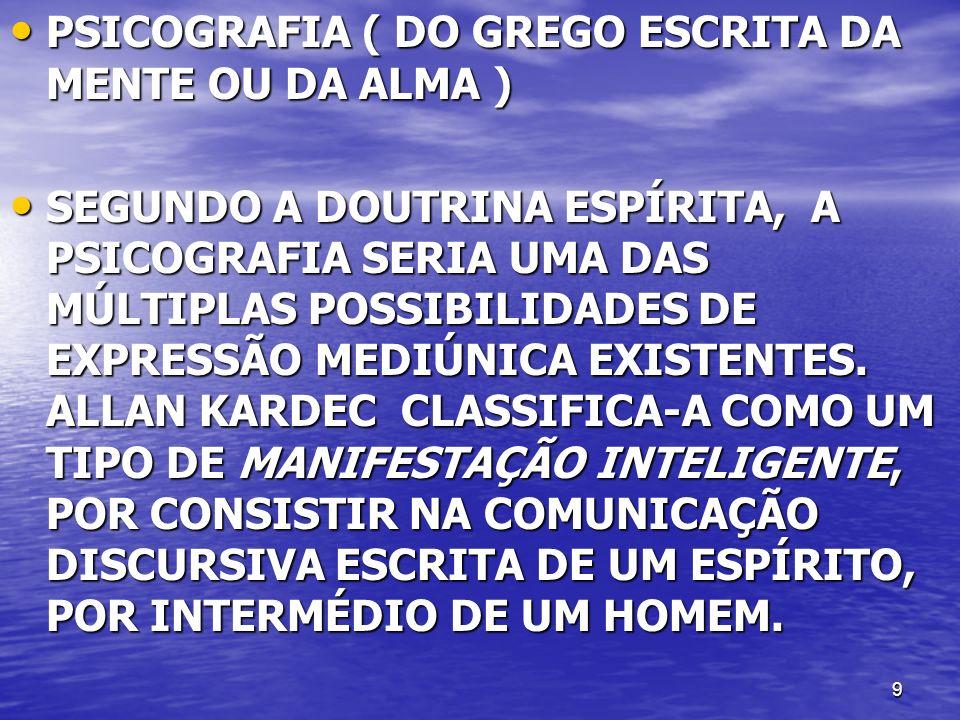 PSICOGRAFIA ( DO GREGO ESCRITA DA MENTE OU DA ALMA )