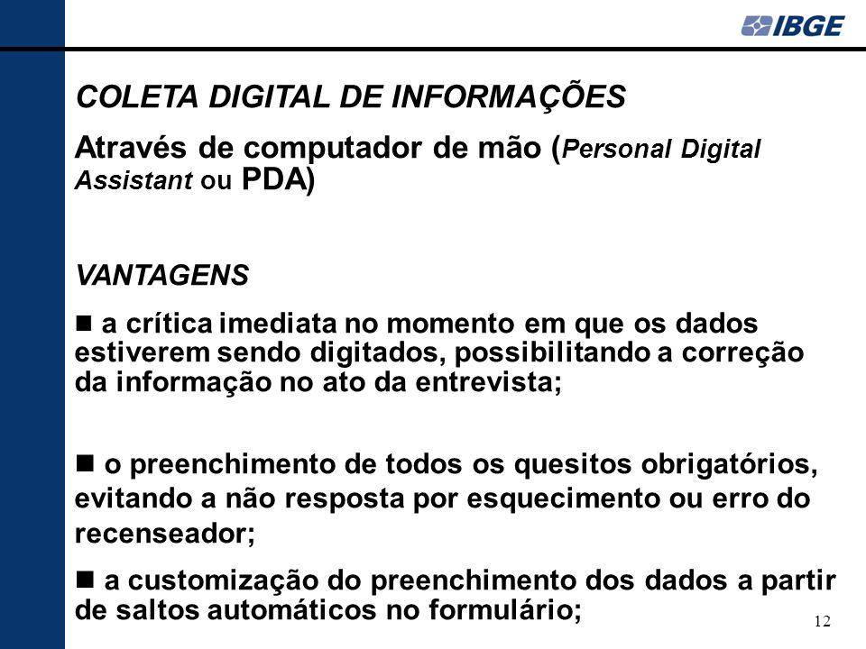 COLETA DIGITAL DE INFORMAÇÕES