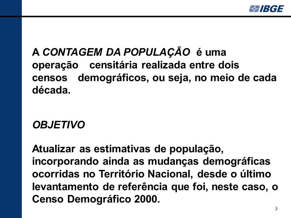 A CONTAGEM DA POPULAÇÃO é uma operação