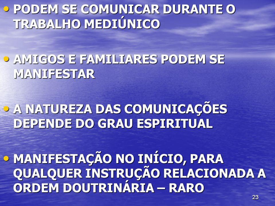 PODEM SE COMUNICAR DURANTE O TRABALHO MEDIÚNICO