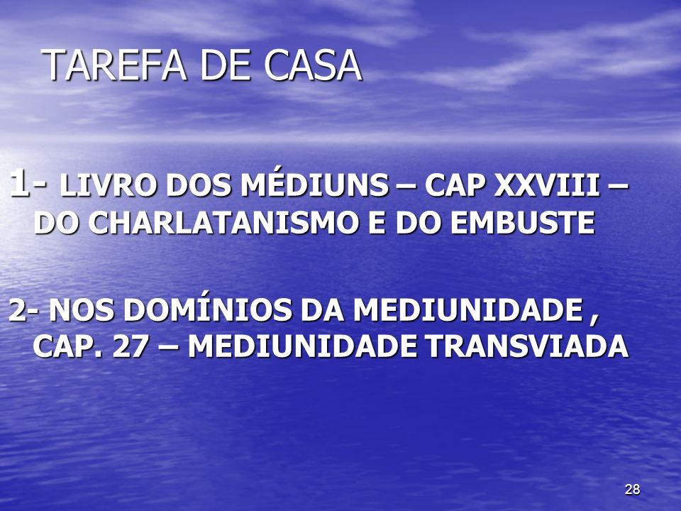 TAREFA DE CASA 1- LIVRO DOS MÉDIUNS – CAP XXVIII – DO CHARLATANISMO E DO EMBUSTE.