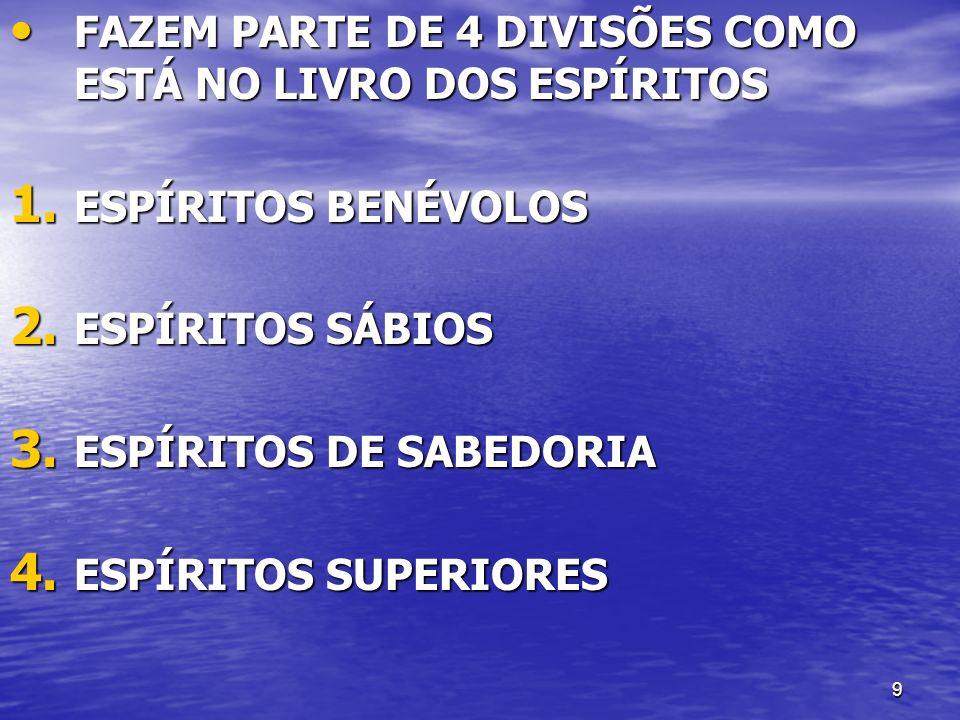 FAZEM PARTE DE 4 DIVISÕES COMO ESTÁ NO LIVRO DOS ESPÍRITOS