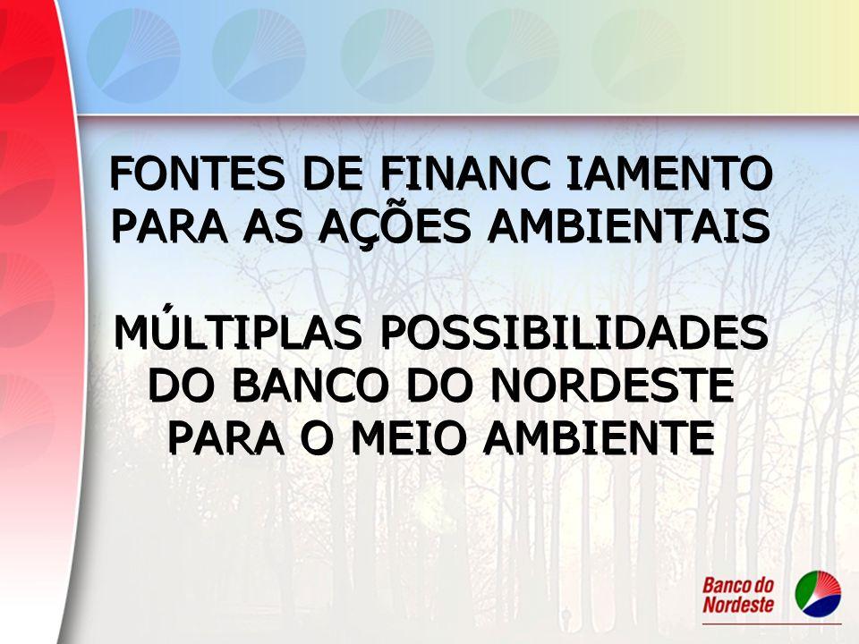FONTES DE FINANC IAMENTO PARA AS AÇÕES AMBIENTAIS MÚLTIPLAS POSSIBILIDADES DO BANCO DO NORDESTE PARA O MEIO AMBIENTE