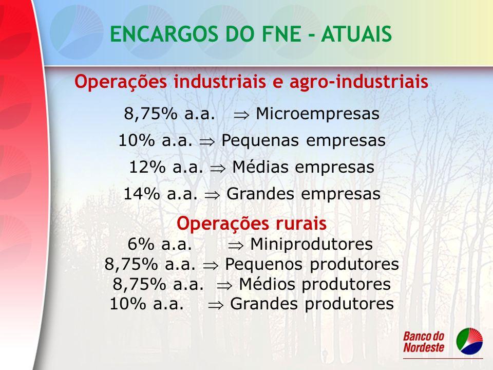 ENCARGOS DO FNE - ATUAIS