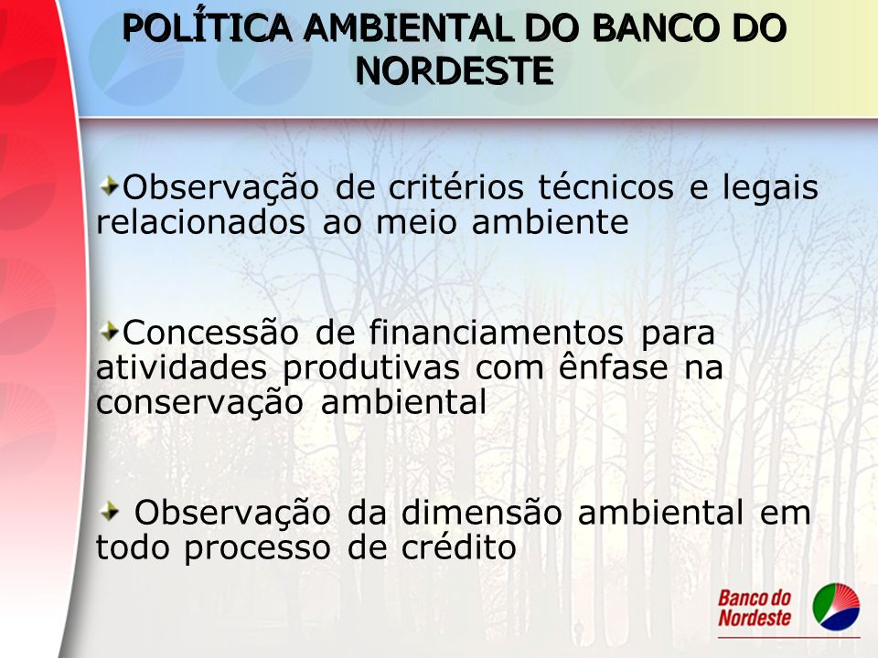 POLÍTICA AMBIENTAL DO BANCO DO NORDESTE