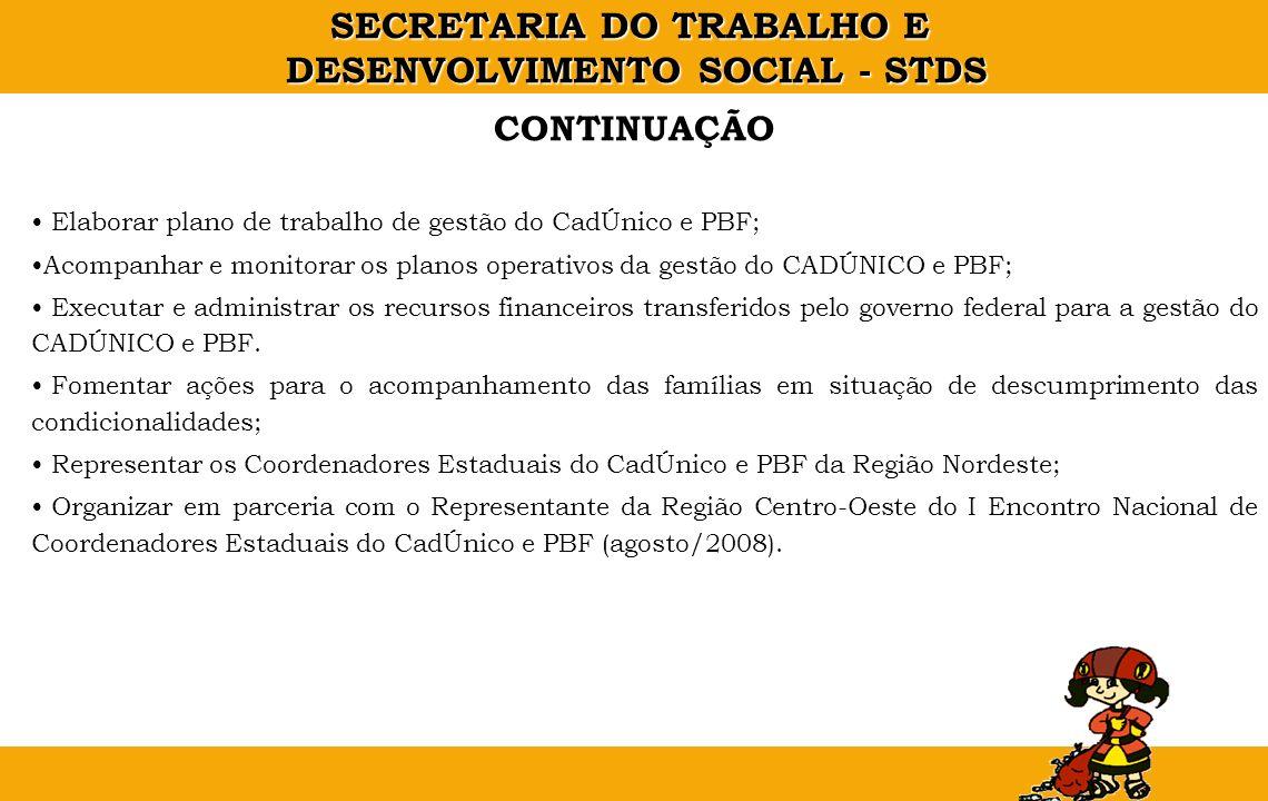 CONTINUAÇÃO Elaborar plano de trabalho de gestão do CadÚnico e PBF;
