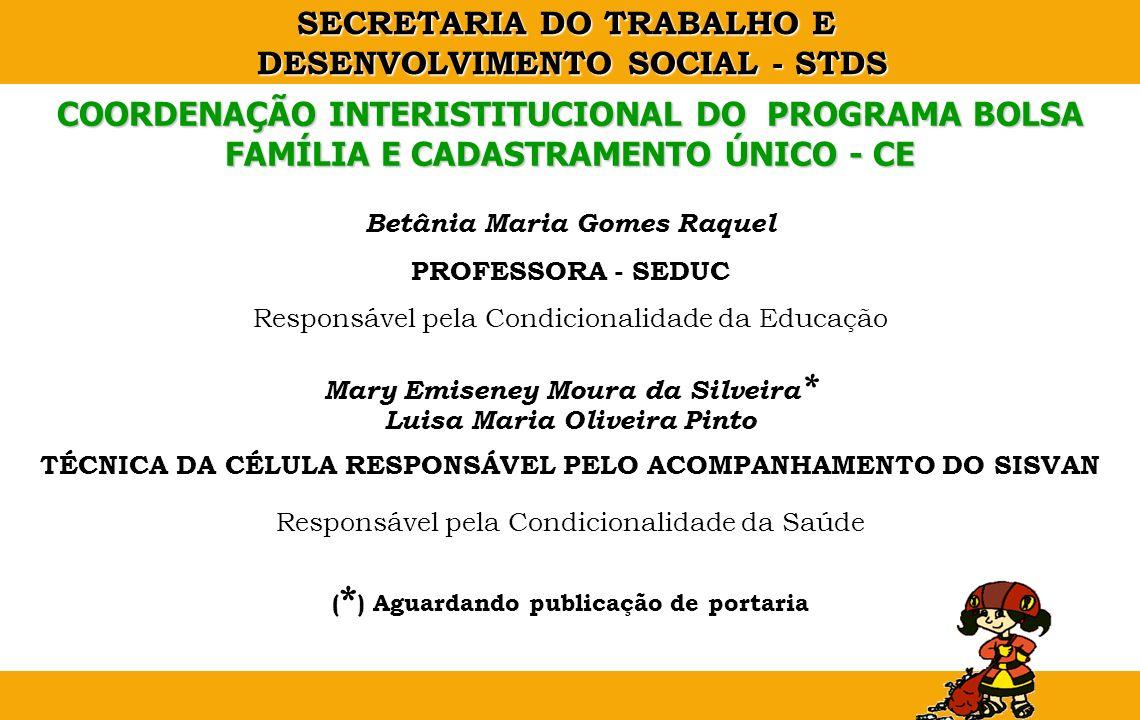 COORDENAÇÃO INTERISTITUCIONAL DO PROGRAMA BOLSA FAMÍLIA E CADASTRAMENTO ÚNICO - CE
